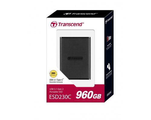 Твердотельный диск 960GB Transcend ESD230C, USB3.1 Gen 2, Type-C, пластик, черный, [R/W - 520/460 MB/s]